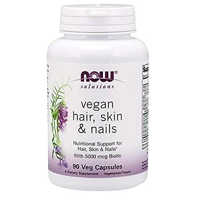 Now Foods Solutions Vegan Hair/Skin/Nails Veg Capsules, 90 Count