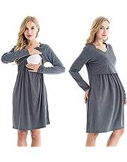 Bearsland Women's Long Sleeve Nursing Dresses V Neck Maternity Breastfeeding Dresses with Pockets