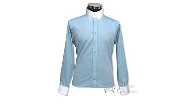 Tab collar shirt Sky Blue Herringbone Mens Formal Loop collar James Bond Gents