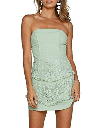 Sleeveless Strapless Mini (ZESICA Women's Summer Sleeveless Off The Shoulder Lace Patchwork Mini Dress)