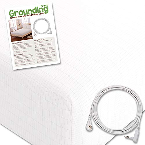 Grounding Brand Fitted Queen Size Sheet with Earth Connection Cable, 400TC Conductive Mat with Pure Silver Thread for Better Sleep and Healthy Earth Energy, White (Earthing Rod)