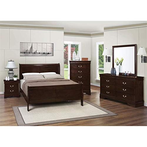 BOWERY HILL 4 Piece Full Sleigh Bedroom Set in Cappuccino by BOWERY HILL
