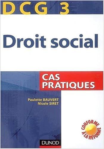 Lire Droit social DCG3 : Cas pratiques pdf, epub ebook