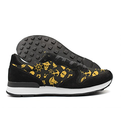 Hoohle Black Pirate Skulls Anchor Knife Rudder Telescope Pirate Flag Women Breathable Black Internationalist Leather Mid Suede Mesh Retro Casual Running Sports Trainers Runner Walking Sneakers (Bandana Pirate Suede)