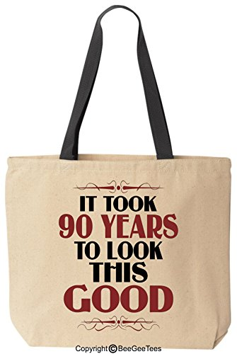 (BeeGeeTees It Took 90 Years to Look This Good Birthday Tote Funny Canvas Reusable)