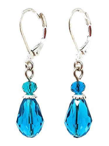 (Glass Teardrop Earrings - Teal Blue (E567))