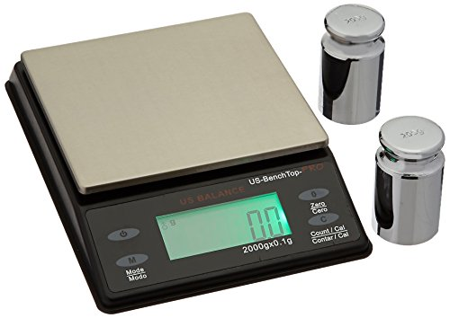 US BALANCE Backlit LCD Display Table Scale, 2000 x 0.1gm, Black ()