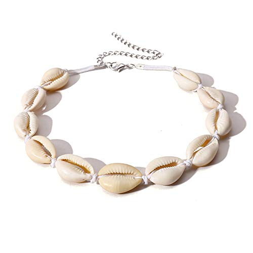 Konpicca Handmade Summer Beach Shell Conch White Velvet Rope Choker Necklace Adjustable Conch Shell Necklace -