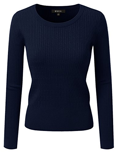 DRESSIS Women's Long Sleeve Crew Neck Cable Knit Sweater NAVY M