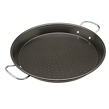 """Ecolution Sol Paella Pan – Eco-Friendly PFOA Free Hydrolon Non-Stick – Heavy Duty Carbon steel with Riveted Chrome Plated Handles – Dishwasher Safe – Limited Lifetime Warranty – Black– 15"""" Diameter"""