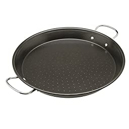 "Ecolution Sol Paella Pan – Eco-Friendly PFOA Free Hydrolon Non-Stick – Heavy Duty Carbon steel with Riveted Chrome Plated Handles – Dishwasher Safe – Limited Lifetime Warranty – Black– 15"" Diameter"