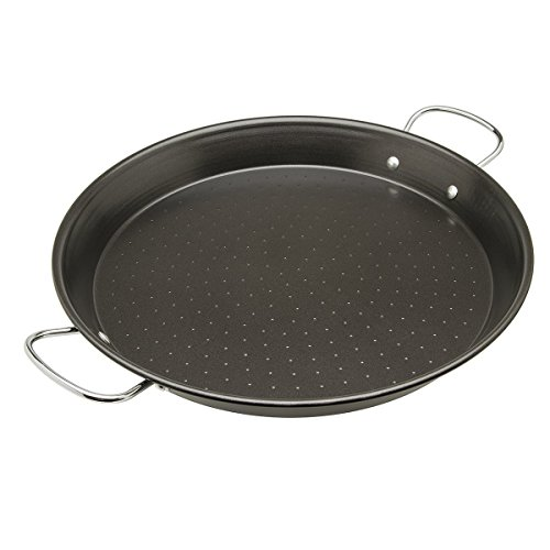 "Price comparison product image Ecolution Sol Paella Pan – Eco-Friendly PFOA Free Hydrolon Non-Stick – Heavy Duty Carbon steel with Riveted Chrome Plated Handles – Dishwasher Safe – Limited – Black– 15"" Diameter"