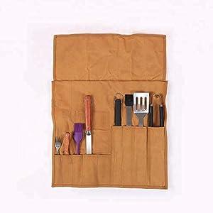 Borsa arrotolabile in tela cerata per attrezzi da barbecue, con manico in pelle e cinghie, borsa porta attrezzi… 1 spesavip