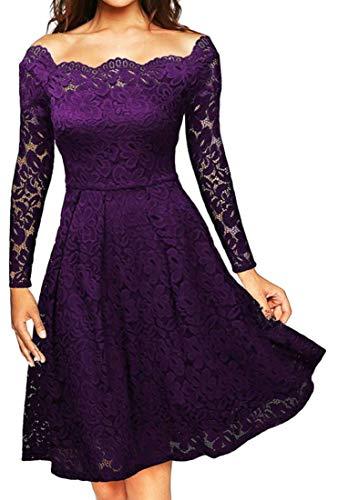 A Line Floral Cocktail Dresses Domple Lace Off Shoulder Formal Purple Womens Party Ixqq8z7wR