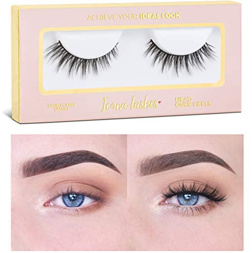 Icona Lashes Premium Quality False Eyelashes | Head Over Heels | Wispy and Flared | Natural Look and Feel | Reusable | 100% Handmade & Cruelty-Free (Best Drugstore Fake Lashes)