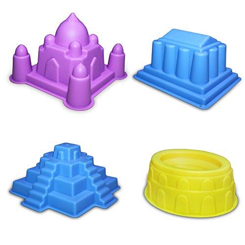CoolSand - Kit de herramientas y moldes de arena para construcción avanzada, funciona con todas las demás marcas de arena de juego, 37 piezas incluye: moldes para castillo, ladrillos y paredes, y herramientas - arena no incluida