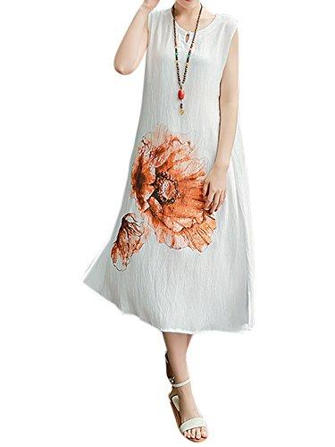 Printing Chinese Linen White Dress Style Cotton Women Split Elegant Flower fwHqP1Inpq