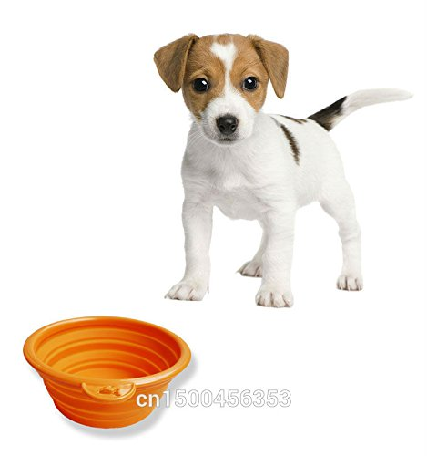 1pcs Foldable Portable Dog Bowl Cute Portable Silicone Collapsible Folding Pet Bowl Travel Cat Pet Bowl Feeding Water Food Color Pink