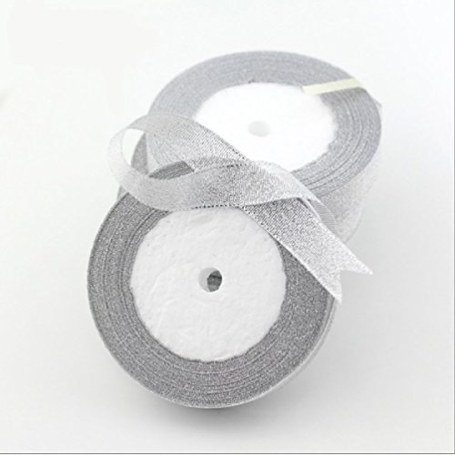 3/8' Diameter Stem (25 Yards/Lot 3/8'' (10Mm) Gold And Silver Ribbon Wedding Decoration Christmas Packaging Ribbon Card Gift Wrapping Ribbons)