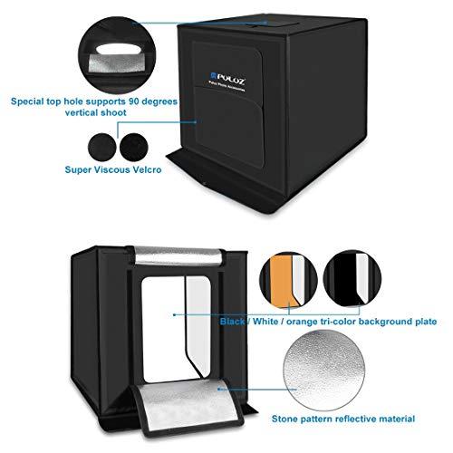 Portable Photo Studio 16'' Photography Light Box, Shooting Light Tent, Adjustable Brightness Folding Professional Booth Table Top Photography Lighting Kit LED Lights with 3 Colors Backdrops by PULUZ P (Image #1)