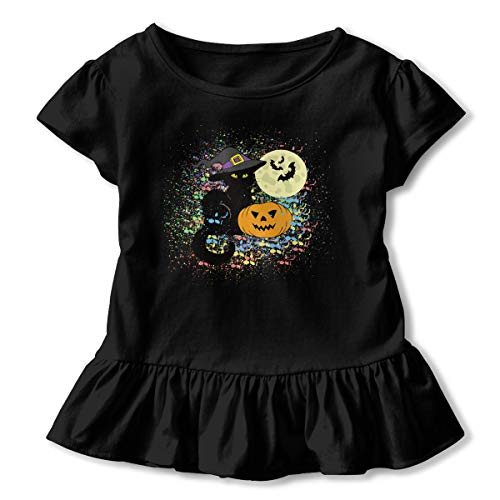 Sheridan Reynolds Watercolor Pumpkin Halloween Cat Toddler Tops Kids Short Sleeve T-Shirt Black