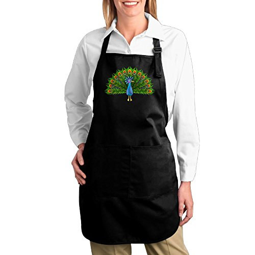 Dogquxio Beautiful Peacock Kitchen Helper Professional Bib Apron With 2 Pockets For Women Men Adults Black (Bass Canvas Jeans)