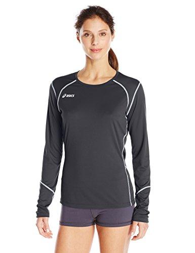 Asics Athletic Jersey - ASICS Women's Volleycross Long Sleeve Jersey, Black/Steel Grey, Medium