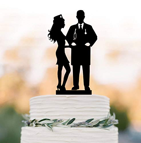 doctor and nurse Wedding Cake topper nurse bride and doctor groom silhouette wedding cake - Dr Toppers Mrs Cake And