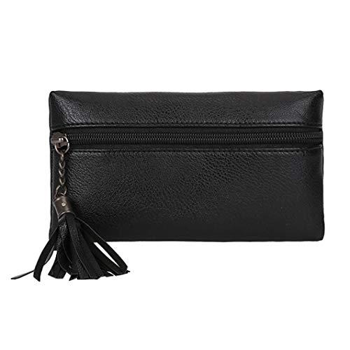 Sunshinehomely Fashion Women Girls Pure Color Tassel Leather Waist Pack Bags Handbag Messenger Shoulder Bag Chest Bag (Black)