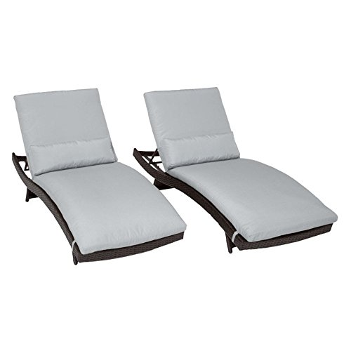 TK Classics Bali Outdoor Wicker Patio Chaise Furniture, Set of 2, Grey Wicker Bali Chaise