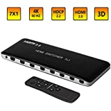 KEEGH 4K 60HZ HDMI Switch 7 Ports 7X1 HDMI 2.0 Switcher Splitter Box with IR Wireless Remote Support HDCP 2.2 HDR, Full HD/3D