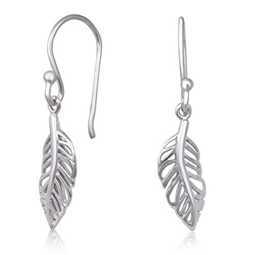 - 925 Sterling Silver Feather Design Rhodium Plated Drop Dangle Earrings
