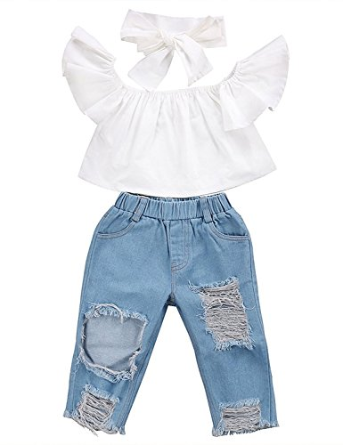 ViWorld Toddler Baby Girls Pant Set Kid Off Shoulder Tops Denim Pants Jeans 3PCS Outfits Set (White, 80(1-2Years))