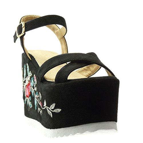 Angkorly - Chaussure Mode Sandale Mule plateforme femme fleurs brodé lanière Talon compensé plateforme 12.5 CM - Noir
