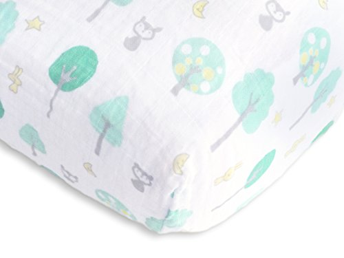 SwaddleDesigns Cotton Muslin Sheet Woodland product image