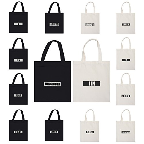 BTS White Yuxareen Kpop Printed Bag Bangtan Canvas Messenger Bag Tote Boys Canvas Bag Shoulder 1 q5axpgw5