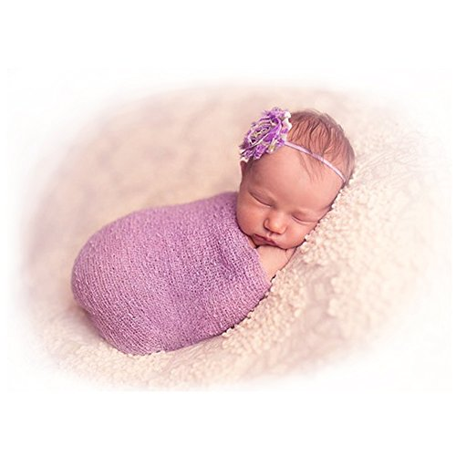 2017 Newborn Baby Stretch Wrap Photo Props, Besutana DIY Long Ripple Wrap-Baby Favors Purple