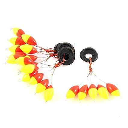 eDealMax Perla de plástico Pesca Con caña flotador Bobber herramienta tapón 4PCS Rojo Amarillo