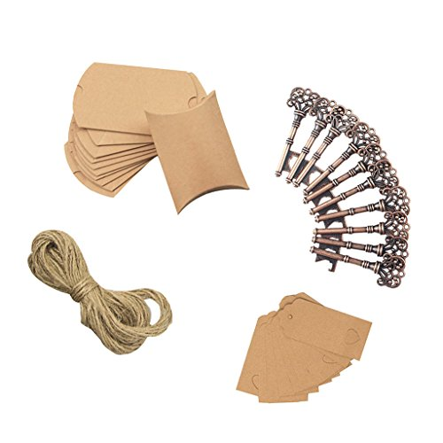 Homyl 10 Set Vintage Key Bottle Openers with Kraft Paper Gift Tags Pillow and Twine for Wedding Banquet Party Favor by Homyl