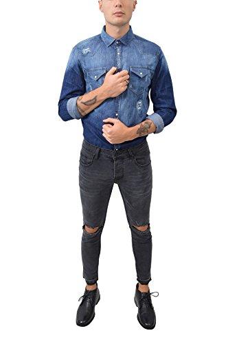 Camicia Jeans Denim Lavorata Pattina Bottoni Abbigliamento Moda Uomo