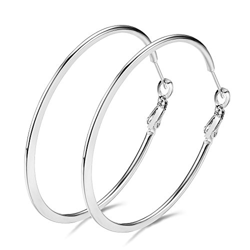Junxin Stainless Steel Big Hoop Earrings, Gold Plated Rose Gold Plated Silver Plated And Black For Women (Black Silver Hoop)