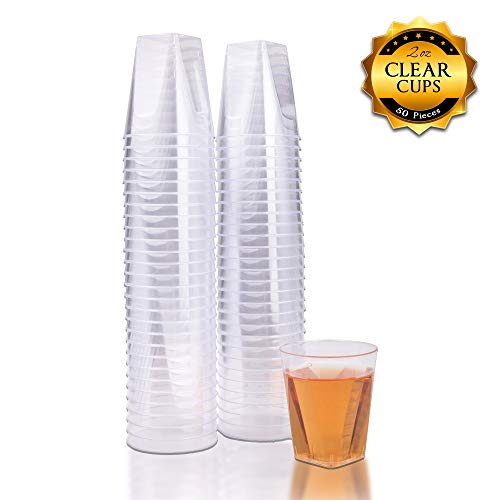 Fete Clear Hard Plastic Shot Glasses 2 Ounce Reusable and Disposable Shot Cups Perfect Party and Sampling Cups for Drinks, Tastings, Sauces, Dips, Finger Foods, and Jelly Shooters (50count