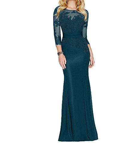 Etuikleider Charmant Langarm Brautmutterkleider Partykleider Dunkel Damen Elegant Abendkleider Spitze Blau Festlichkleider 8qnwZ8Ur