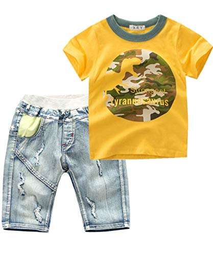 Baby Boys Toddler Kids 2 Pieces Clothing Set Denim Shorts Summer Outfits(Yellow,6-7 ()