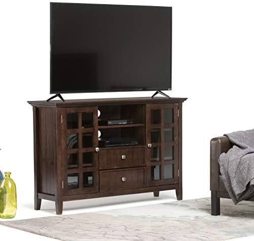 SIMPLIHOME Acadian SOLID WOOD Universal Tall TV Media Stand