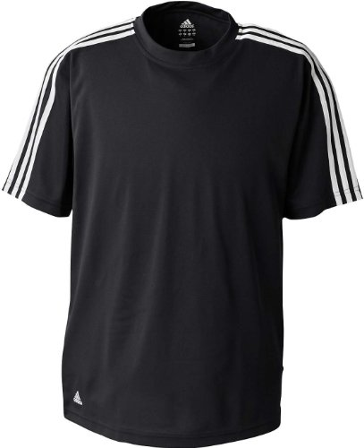 adidas A72 Mens ClimaLite 3-Stripes T-Shirt - Black & White, XL