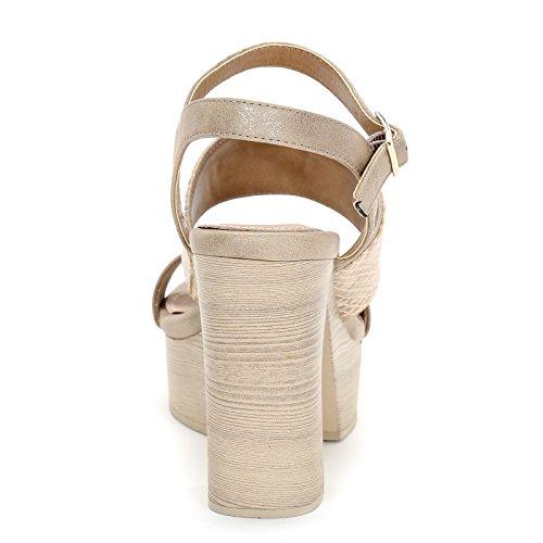 Alesya amp;Scarpe Fascia Stampa con Alti con Sandali 12 Scarpe in cm Pitone Oro Tacco 5rfxwZq50
