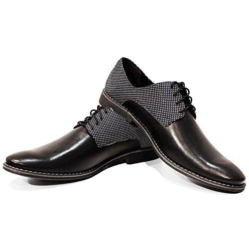 PeppeShoes Modello Pinero - Handmade Italiano da Uomo in Pelle Nero Scarpe da Sera - Vacchetta Pelle Morbido - Allacciare