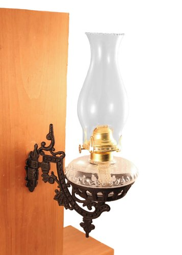 Victorian Oil Lamp - Vermont Lanterns - Glass Oil Lamp & Cast Iron Wall Bracket (Clear)