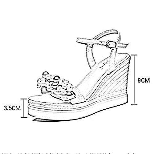 Skråningen Sommer Zhirong Sandaler Vintage Uk5 Kvinners Perle B Søt Strand Åpen C Cn38 farge 5 Bohemia Høye Tå Sko Hæler Eu38 9cm Størrelse 5CCrv4Ky